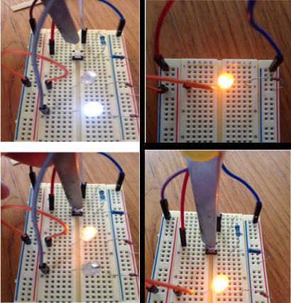 Noen eksempler på elektriske kretser som ble bygget og programmert på kursdag 4