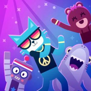 Bilde av code.org dance party, med dansende katt, robot, hai og bamse